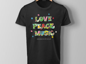 Woodstock the Story T-Shirt opdruk Love, Peace, Music